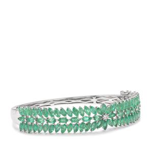 Zambian Emerald Oval Bangle with White Zircon in Sterling Silver 10.57cts