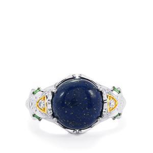 Sar-i-Sang Lapis Lazuli, Tsavorite Garnet & White Zircon Sterling Silver Ring ATGW 6.63cts