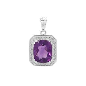 Zambian Amethyst Pendant with White Zircon in Sterling Silver 3.95cts