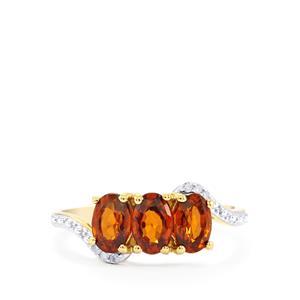 Cognac Zircon & Diamond 9K Gold Ring ATGW 2.35cts