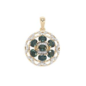 Natural Nigerian Blue Sapphire & Diamond 9K Gold Pendant ATGW 2.44cts