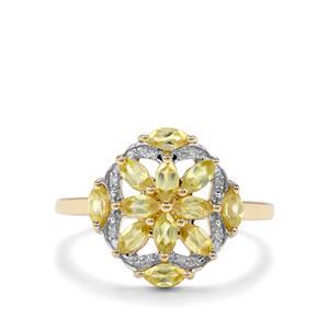 Sambava Sphene & Diamond 9K Gold Ring ATGW 1.06cts