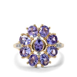AA Tanzanite Ring with Diamond in 10K Gold 2.72cts
