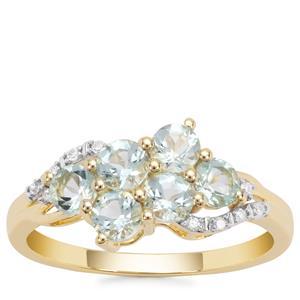 Aquaiba™ Beryl Ring with Diamond in 9K Gold 0.91cts