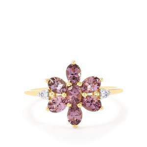 Purple Mahenge Spinel Ring with White Zircon in 10k Gold 1.39cts