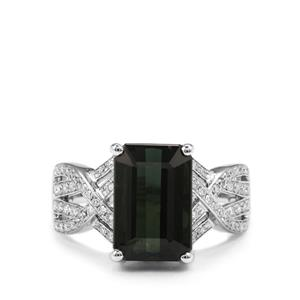 Green Tourmaline Ring with Diamond in 18K White Gold 5.42cts