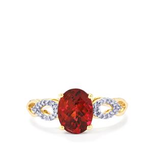 Cruzeiro Rubellite Ring with Diamond in 9K Gold 1.84cts