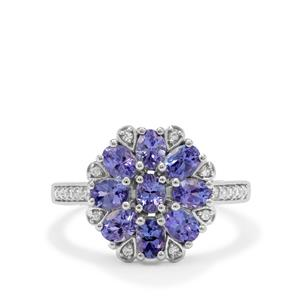 AA Tanzanite Ring with White Zircon in 9K White Gold 1.60cts