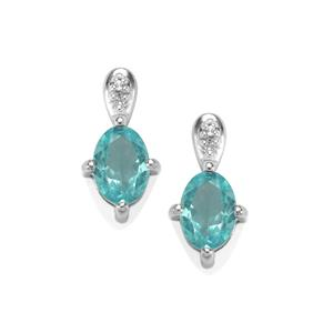 Madagascan Blue Apatite & White Topaz Sterling Silver Earrings ATGW 1.52cts