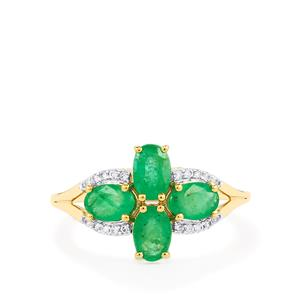 Zambian Emerald Ring with White Zircon in 10k Gold 1.59cts