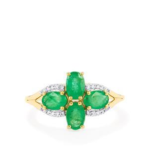 Zambian Emerald & White Zircon 9K Gold Ring ATGW 1.59cts