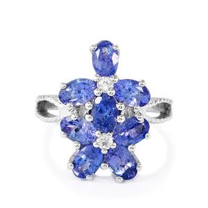 AA Tanzanite & White Topaz Sterling Silver Ring ATGW 4.18cts