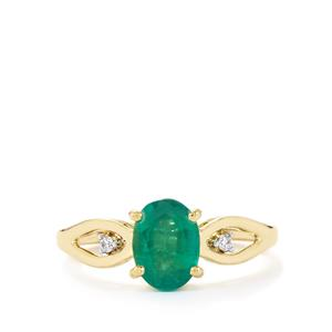 Zambian Emerald Ring with Diamond in 14k Gold 1.26cts