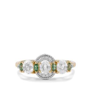 Singida Tanzanian, White Zircon & Fern Green Topaz 9K Gold Ring ATGW 1.67cts
