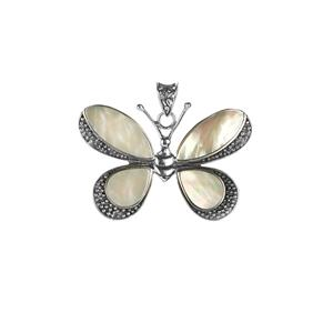 Samuel B Mother of Pearl Sterling Silver Butterfly Pendant