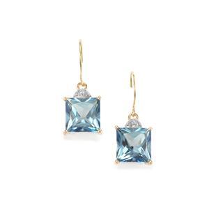 Santa Maria Topaz & Diamond 10K Gold Earrings ATGW 8.66cts