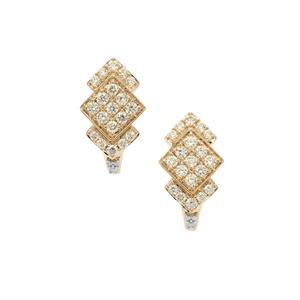 1ct Natural Yellow & White Diamond 9K Gold Earrings