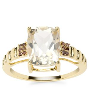 Serenite Ring with Champagne Diamond in 9K Gold 2.82cts