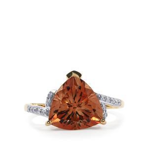Oregon Sunstone & Diamond 18K Gold Tomas Rae Ring MTGW 3.81cts