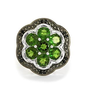 Chrome Diopside & Black Spinel Sterling Silver Ring ATGW 5.06cts