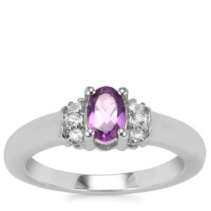 Zambian Amethyst Ring with White Topaz in Sterling Silver 0.50ct