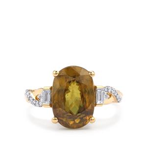 Morafeno Sphene & Diamond 18K Gold Lorique Ring  MTGW 5.78cts