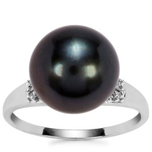 Tahitian Cultured Pearl Ring with Diamond in 9K White Gold (11.50 X 11mm)
