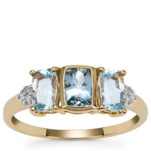 Santa Maria Aquamarine Ring with Diamond in 9K Gold 1.35cts