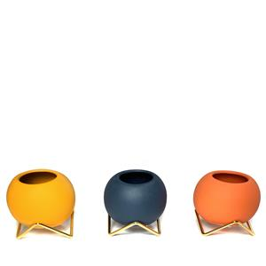 Set of 3 Succulent Bowls with Gold Geometric Stand