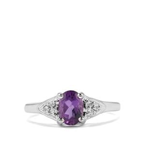 Kenyan Amethyst Ring with White Topaz in Sterling Silver 0.78cts