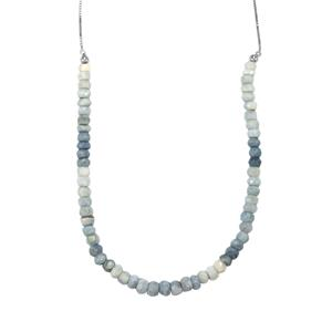 25.50ct Peruvian Blue Opal Sterling Silver Slider Graduated Bead Necklace