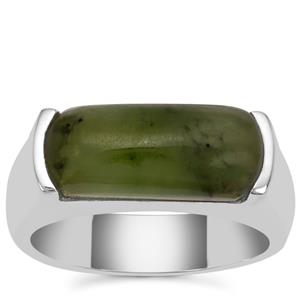 Nephrite Jade Ring in Sterling Silver 5.25cts