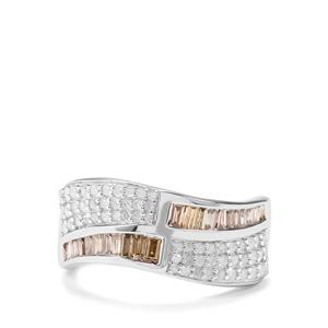 1ct Champagne & White Diamond Sterling Silver Ring