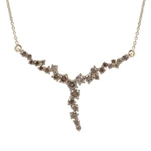 Champagne Diamond Necklace in 9K Gold 1cts