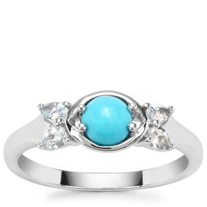 Sleeping Beauty Turquoise Ring with Sokoto Aquamarine in Sterling Silver 0.74ct