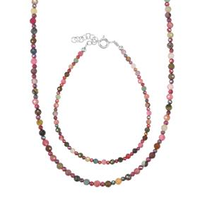 Multi-Colour Tourmaline Set of Bead  Bracelet and Necklace with Mystic Haematite in Sterling Silver 33.16cts
