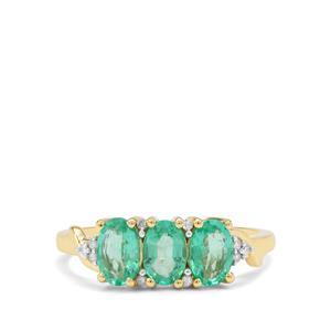 Ethiopian Emerald & Diamond 9K Gold Tomas Rae Ring ATGW 1.16cts
