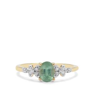 Odisha Kyanite & White Zircon 9K Gold Ring ATGW 0.93cts