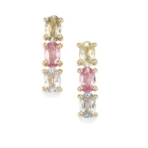 1.91ct Natural Sakaraha Rainbow Sapphire 10K Gold Earrings