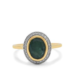 Grandidierite Ring with White Zircon in 9K Gold 1.85cts