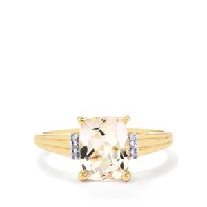 Alto Ligonha Morganite & Diamond 10K Gold Ring ATGW 1.95cts