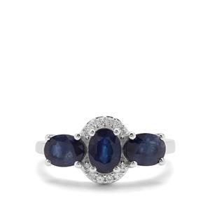 Kanchanaburi Sapphire & White Zircon Sterling Silver Ring ATGW 3.17cts