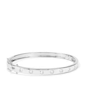 1.09ct Plush Diamond Sunstone Sterling Silver Round Bangle