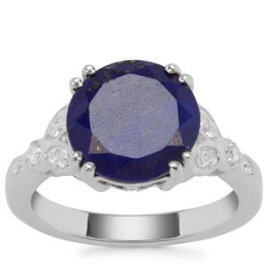 Sar-i-Sang Lapis Lazuli Ring with White Zircon in Sterling Silver 4.20cts