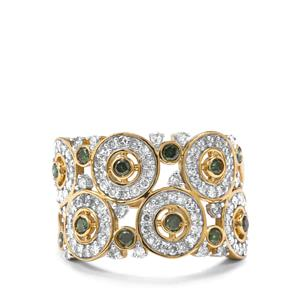 Green Diamond Ring with White Diamond in 9K Gold 1ct