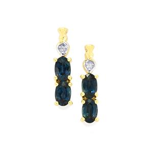 Nigerian Blue Sapphire Earrings with Diamond in 10k Gold 1.46cts