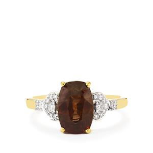 Color Change Garnet & Diamond 18K Gold Tomas Rae Ring MTGW 3.76cts