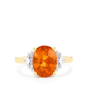 Tangerine Garnet Ring with Diamond in 18k Gold 5.30cts