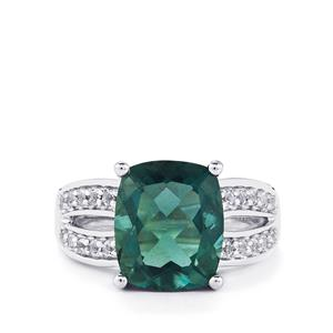 Tucson Green Fluorite Ring with White Topaz in Sterling Silver 6.58cts