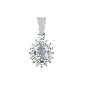 Sokoto Aquamarine Pendant with White Zircon in Sterling Silver 1.43cts